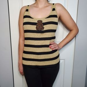 Lauren Ralph Lauren black + gold ribbed tank